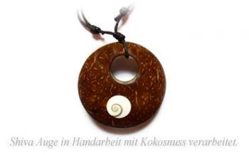 Shiva Auge Halskette Kokosnuss 50mm