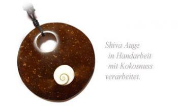 Shiva Auge Halskette Kokosnuss 65 mm