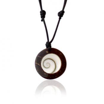 Shiva Auge Halskette Kokosnuss 25 mm