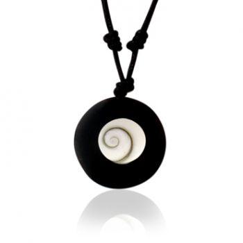 Shiva Auge Halskette Büffelhorn rund
