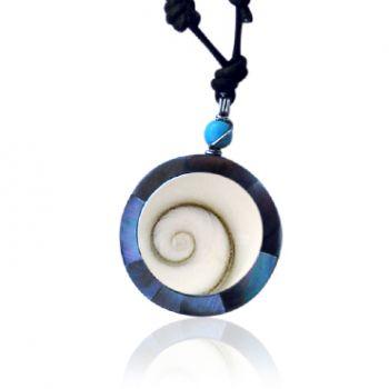 Shiva Auge Halskette Perlmutt und Harz