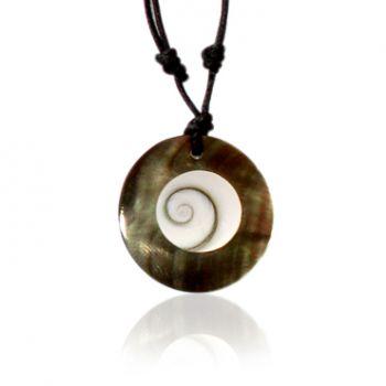 Shiva Auge Kette in Perlmutt rund