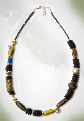 Halskette Millefiore und Kokosnuss 2