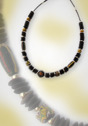 Halskette Millefiore und Kokosnuss 1