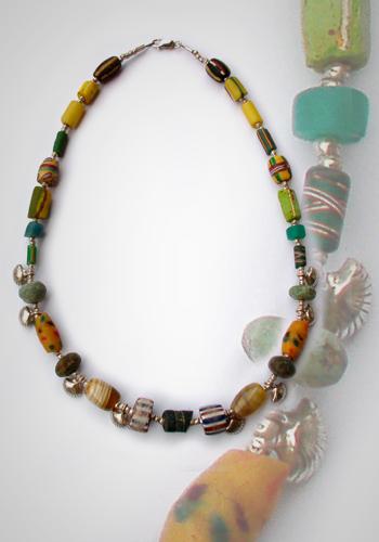 Halskette Millefiore und Muscheln