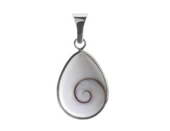 Shiva Auge Anhänger Silberrand Tropfen medium