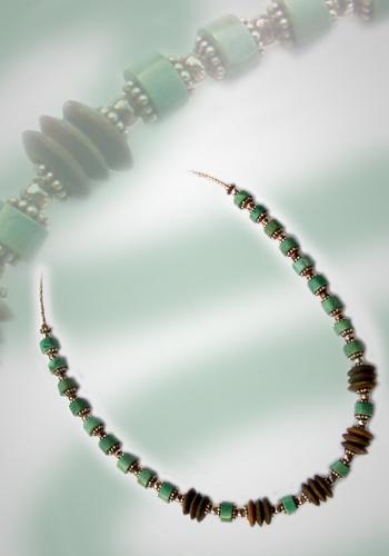 Halskette Türkis und Kokosnuss 1