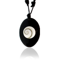 Shiva Auge Halskette Büffelhorn oval
